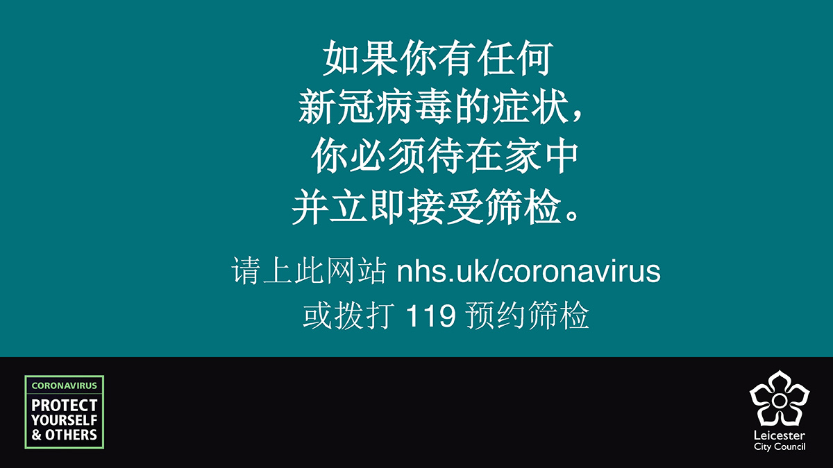Mandarin for: If you have any coronavirus symptoms, you must stay at home and get tested immediately. Book online at: nhs.uk/coronavirus or call 119